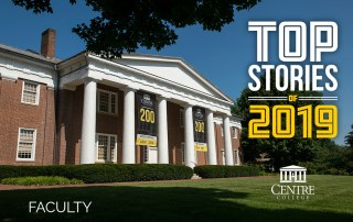 Infographic featuring Old Centre overlaid with the words Top Stories of 2019: Faculty