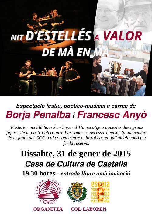 """Estellés i Valor, """"De mà en mà"""" el pròxim 31 de gener a la Casa de Cultura de Castalla"""