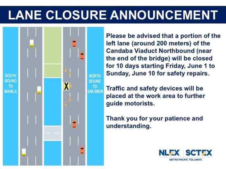 NLEX roadworks closure Candava Viaduct bridge