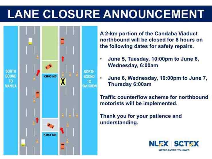 NLEX roadworks closure Candava Viaduct