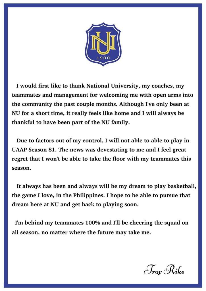 UAAP Season 81 NU Bulldogs Troy Rike official statement