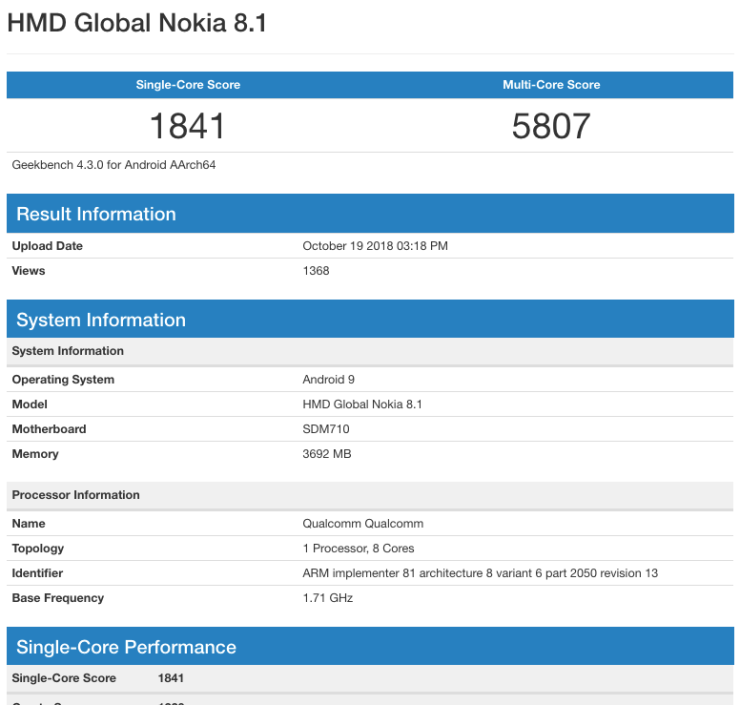 HMD Global Nokia 8.1 Geekbench benchmark