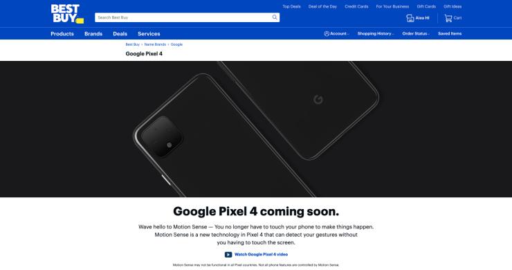 Best Buy Google Pixel 4 XL teaser webpage