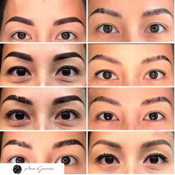 Processo completo de cicatrização de microblading ou micropigmentação de sobrancelhas