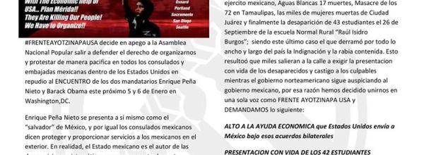 Comunicado de Prensa #FrenteAyotzinapaUSA