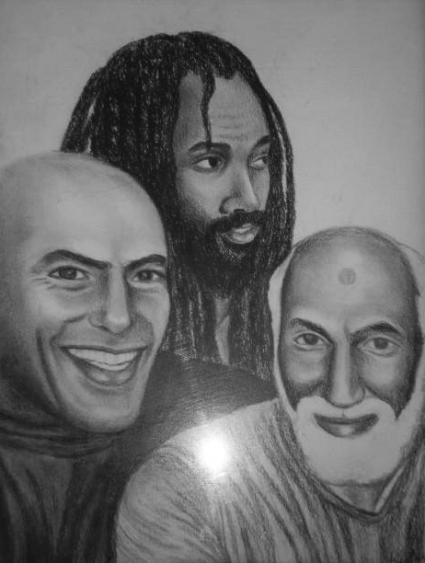 """Imagen: """"De estos tres presos políticos, Hugo Pinell, Mumia Abu Jamal y Nuh Washington, solo queda Mumia, y su situación de salud es precaria debido al abuso y negligencia médica del sistema carcelario."""" – Arte: Kiilu Nyasha"""