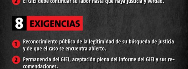 8 exigencias esenciales de madres, padres y estudiantes de Ayotzinapa a Peña Nieto