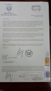 Carta de Renuncia de Perez Molina