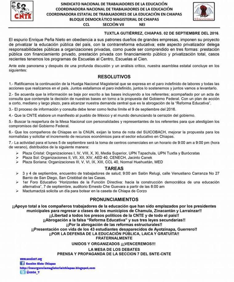20160902 Resolutivos CNTE-Chiapas
