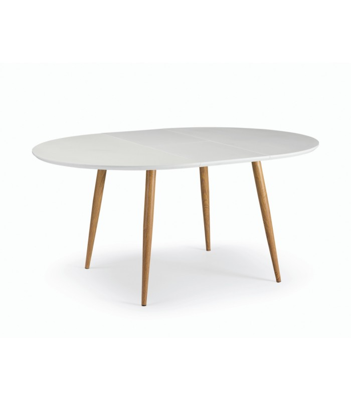 oqui table ronde extensible a 120 160 x75 blanc chene