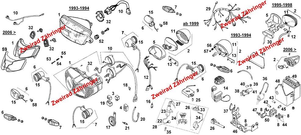 Ersatzteile Elektro Aprilia RS 125 Bj. 1993-2013