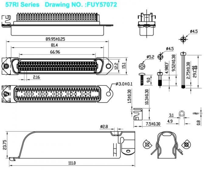 90 Degree 64 Pin Amphenol IDC Male Connector 32 Pairs Plug