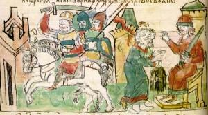 Igor di Kiev (primo da destra). Miniatura dalle Cronache di Radziwiłł.