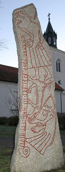 Pietra runica di Ledberg. Lotta tra Odino e Fenrir.