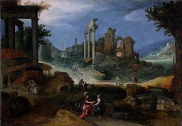 Willem van Nieulandt II (Anversa 1584 – Amsterdam 1635), Paesaggio con rovine romane. Olio su tela, Collezione Fondazione Roma.