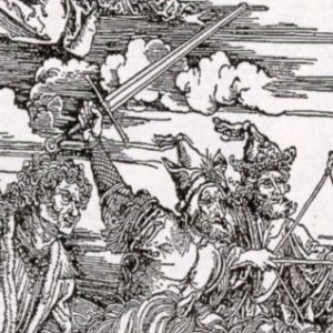 Albrecht Dürer, I quattro cavalieri dell'Apocalisse. Particolare.