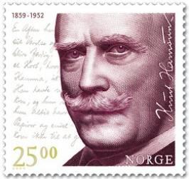 Francobollo commemorativo di Knut Hamsun stampato dalle poste norvegesi in occasione del 150° anniversario della nascita.