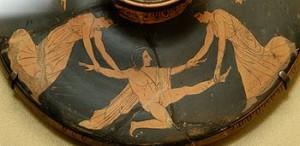Penthée mis en pièces par Ino et Agavé, couvercle de lékanis, v. 450-425 av. J.-C., musée du Louvre