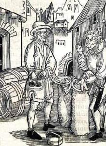Dell'Usura, incisione su legno attribuita ad Albrecht Dürer, da Stultifera Navis di Brant.