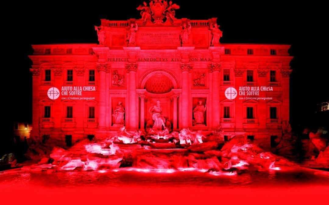 Cristiani perseguitati: la Fontana di Trevi si tingerà di rosso