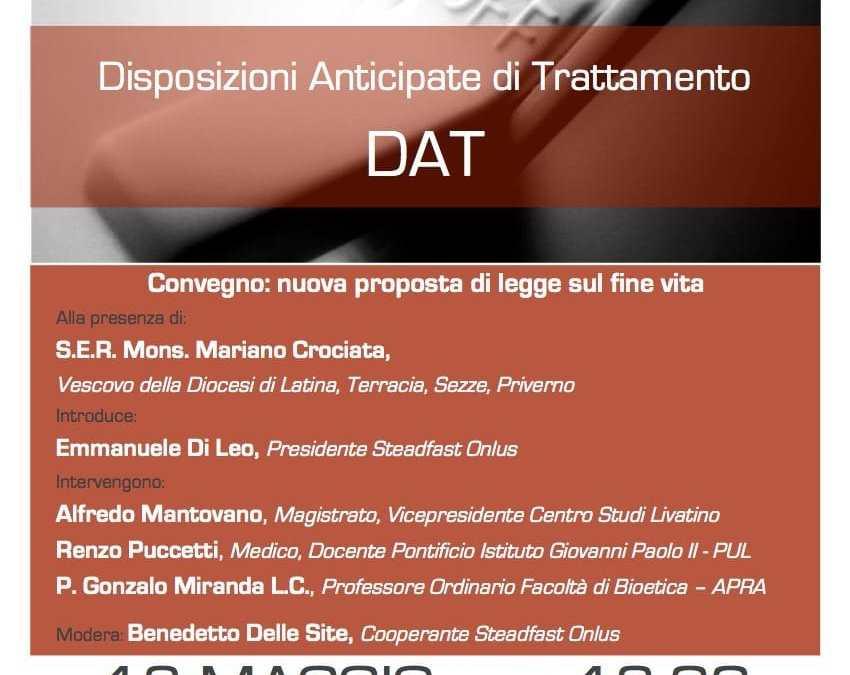 Convegno DAT: nuova proposta di legge sul fine vita. 13 maggio 2017