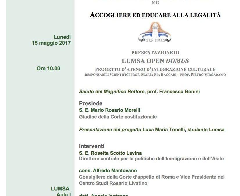 Accogliere ed educare alla legalità – 15 maggio 2017