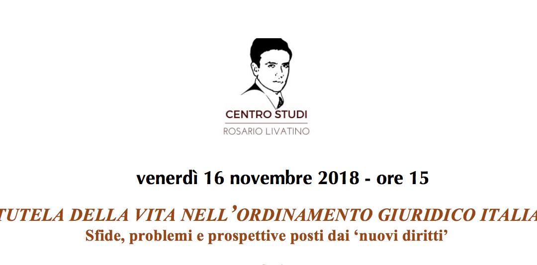 La tutela della vita nell'ordinamento giuridico italiano