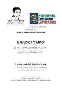 Locandina conferenza Il giudice santo - su Rosario Livatino con Domenico Airoma
