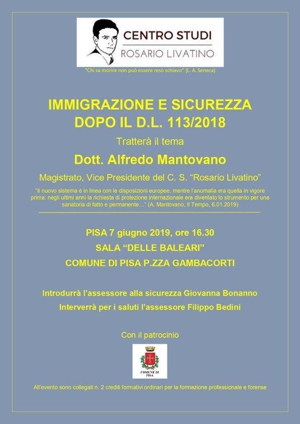 """Locandina della conferenza """"Immigrazione e sicurezza dopo il ddl 113/2018"""""""
