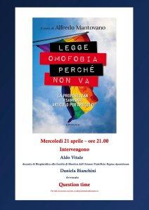 """Locandina incontro under 35 """"Legge omofobia perché non va"""""""