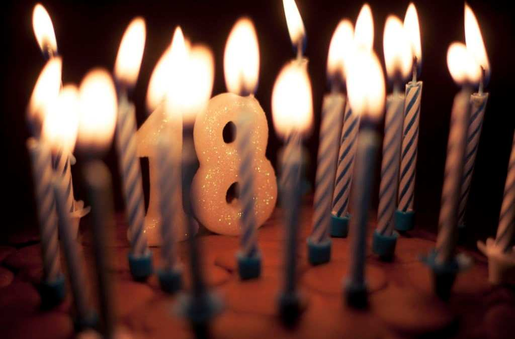 Torta 18 anni con candeline