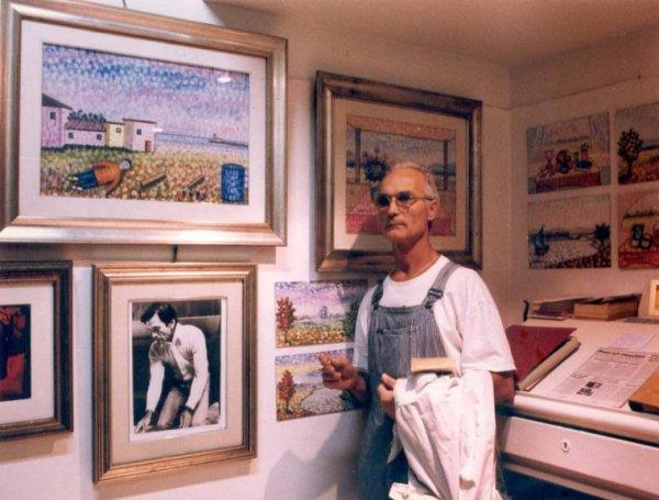 Silvio Parrello nel suo studio a Roma Donna Olimpia (Monteverde, 2009)