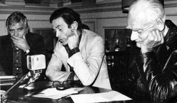 """Pasolini e Moravia alla presentazione del film """"Fascista"""" (1974) di Nico Naldini"""
