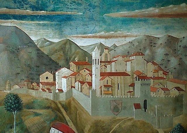 Montefalco, particolare da affresco di Benozzo Gozzoli (Pieve di San Fortunato, 1450 ca.)