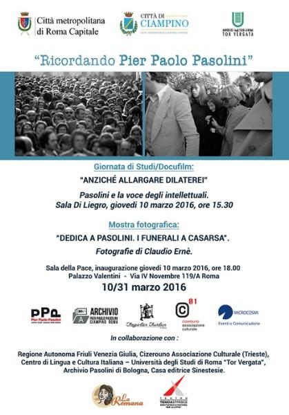 """""""Ricordando Pier Paolo Pasolini"""". Manifesto"""