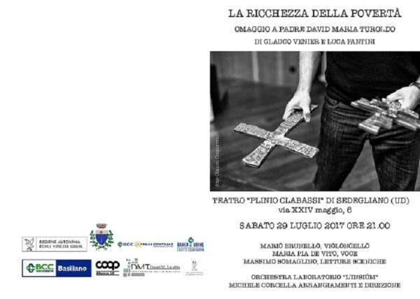 """""""La ricchezza della povertà"""", omaggio a David Maria Turoldo. Pieghevole"""