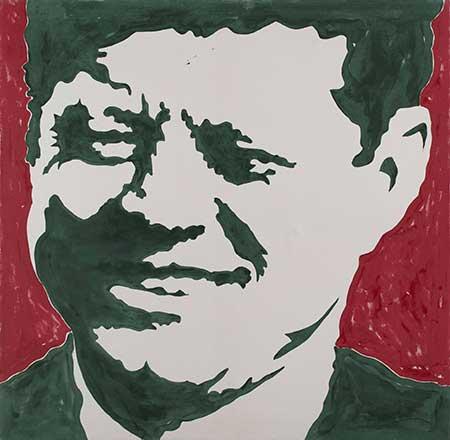 """""""Kennedy"""", smalto su tela di Sergio Lombardo (1964), collezione privata"""