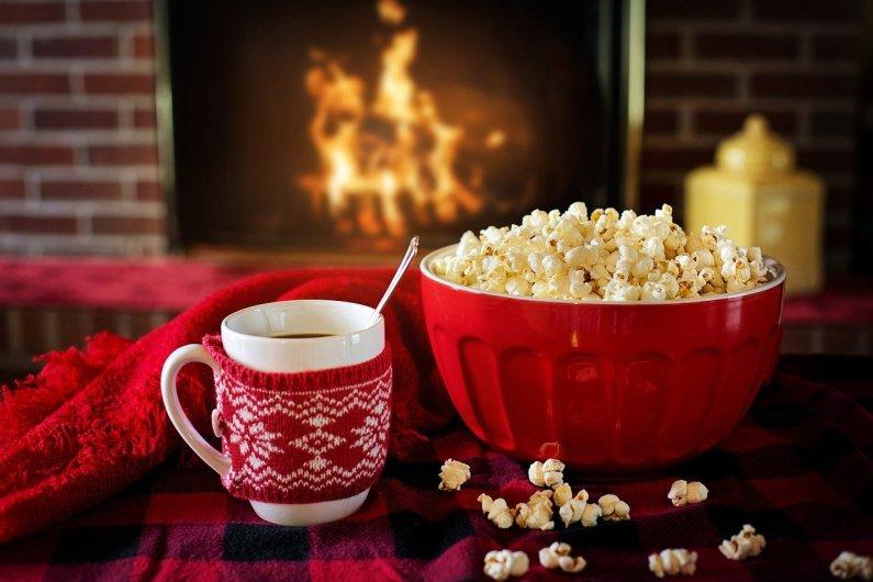 warm fireplace popcorn