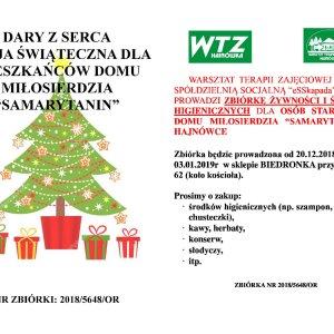 """DARY Z SERCA – Akcja świąteczna dla mieszkańców Domu Miłosierdzia """"Samarytanin"""""""