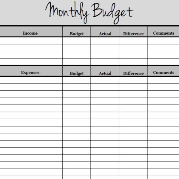 This is an image of Bewitching Monthly Expenses List Printable