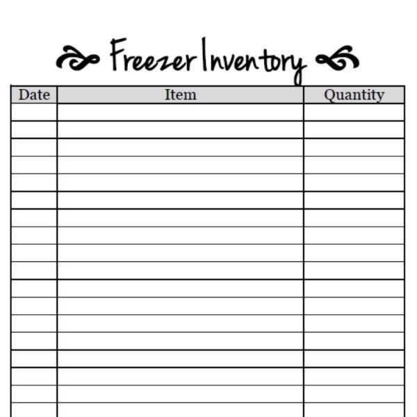 Free Printable-Freezer Inventory Sheet