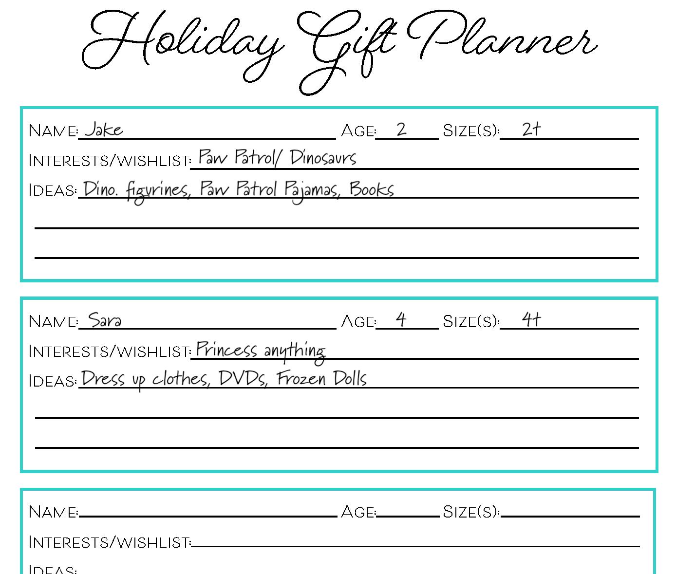 Free Christmas T Planner Printable