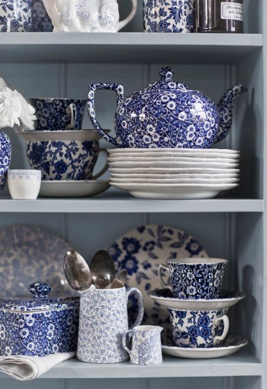 blue burleigh china collection