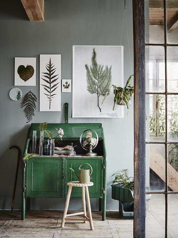 botanical leaf art print display