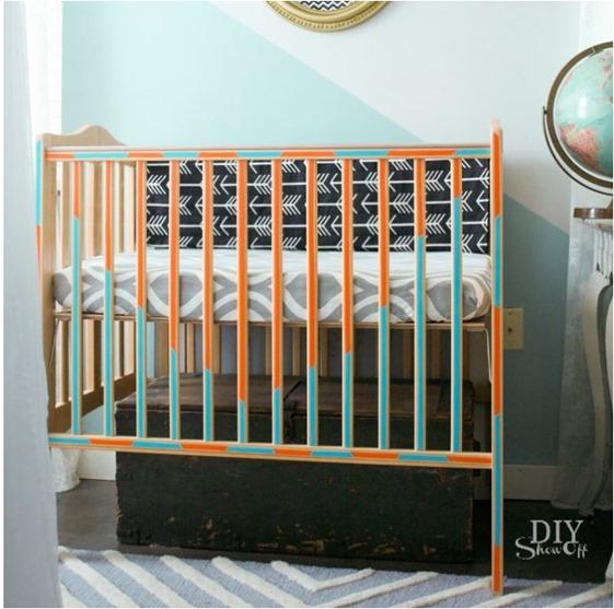 crib with vinyl decals