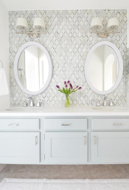 master vanity diamond tile backsplash