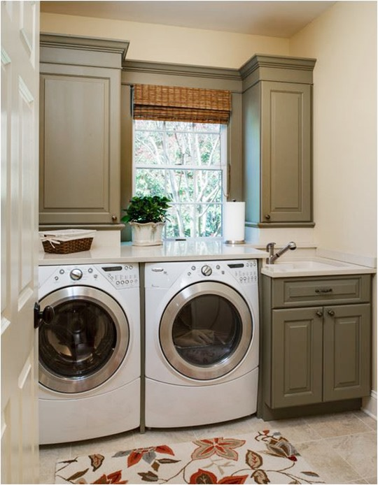 olive green laundry room cabinets