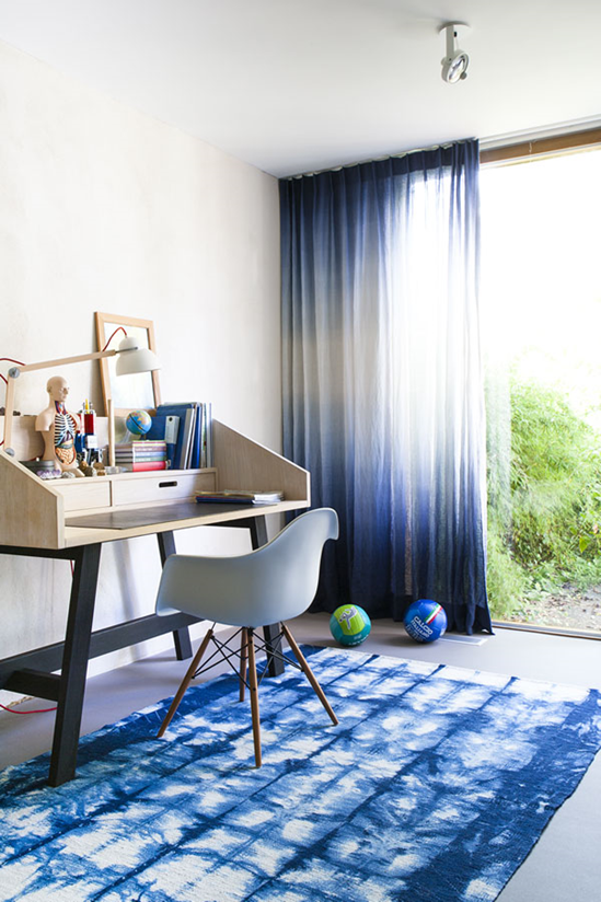 shibori rug indogo dye curtains