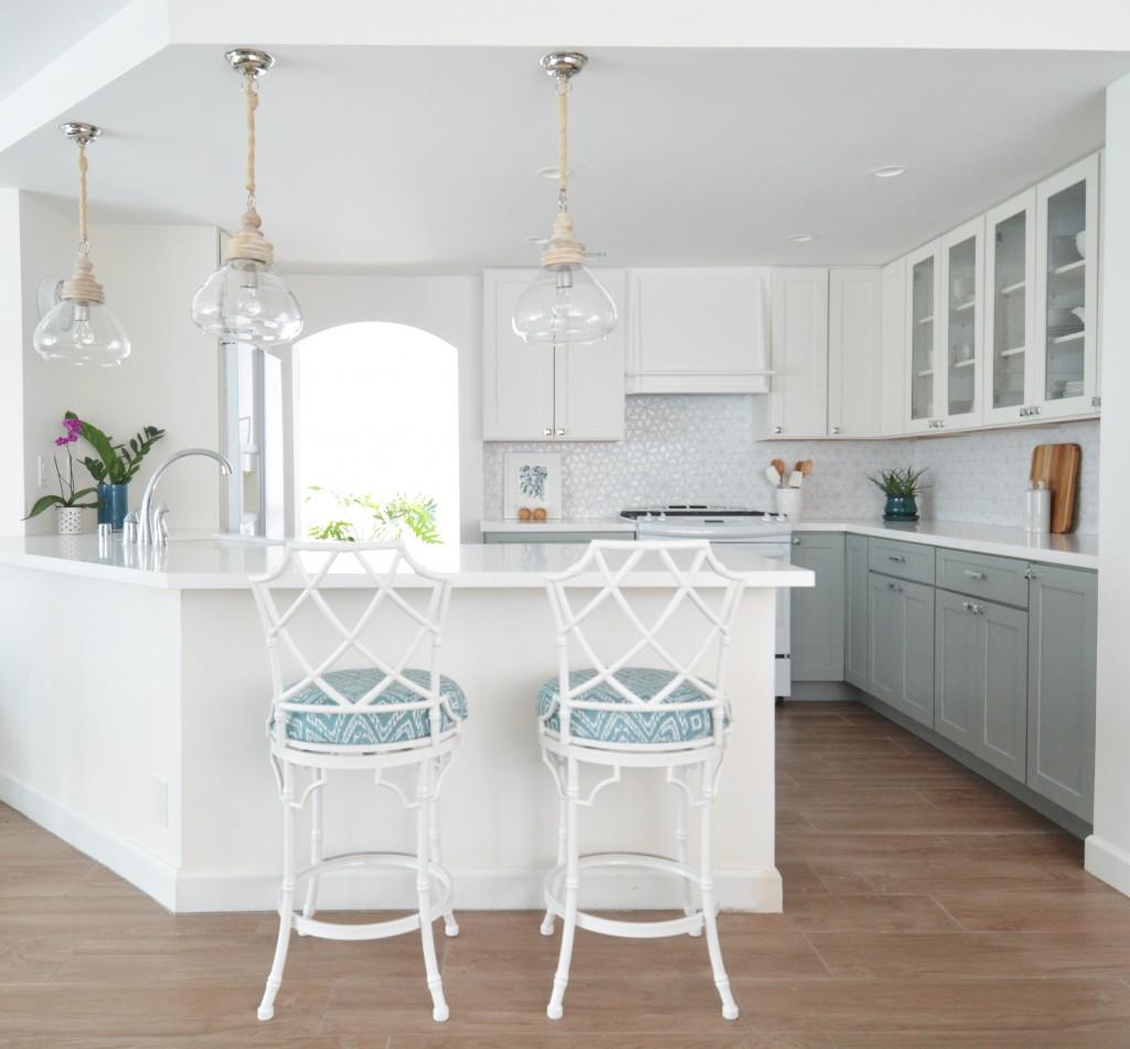 white blue gray kitchen remodel