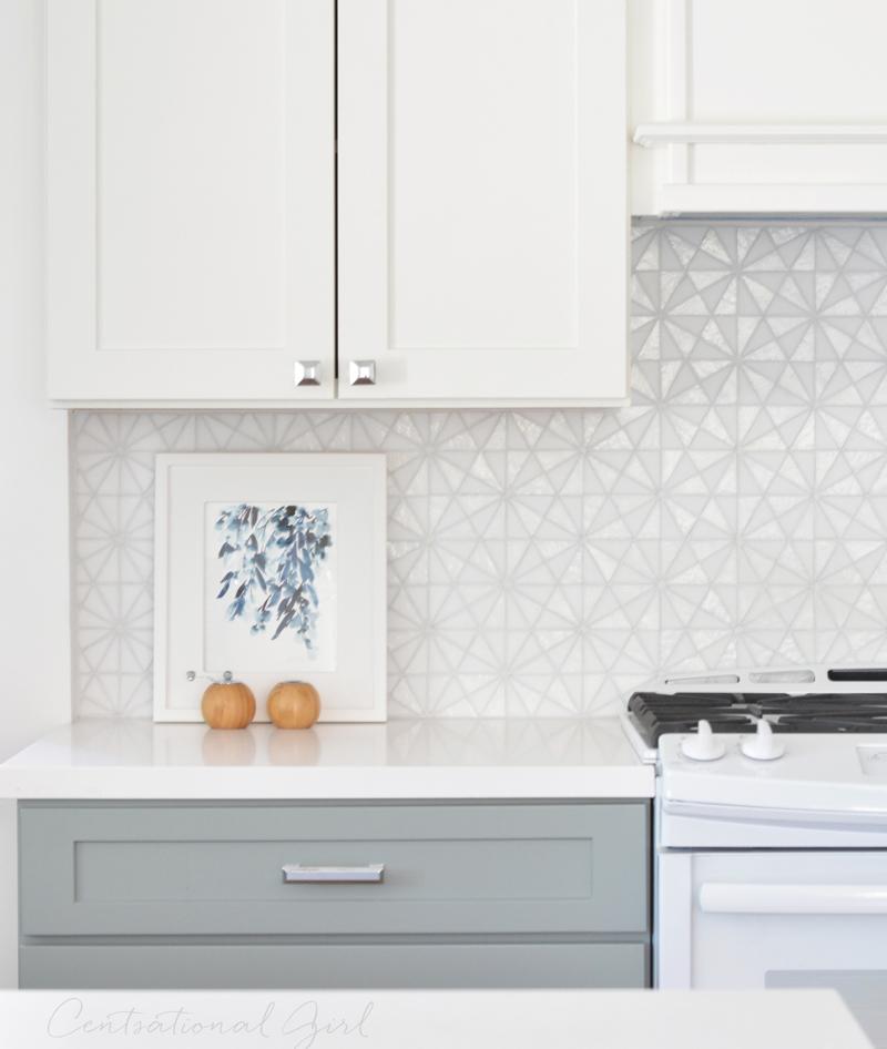 white glass tile backsplash